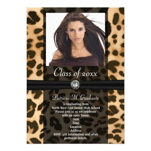 leopard ribbon photo graduation invitation 161900368171099224