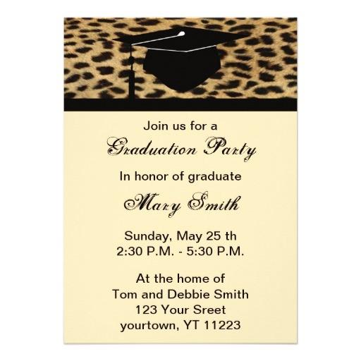 monogram leopard print graduation party invitation 161266272097886881