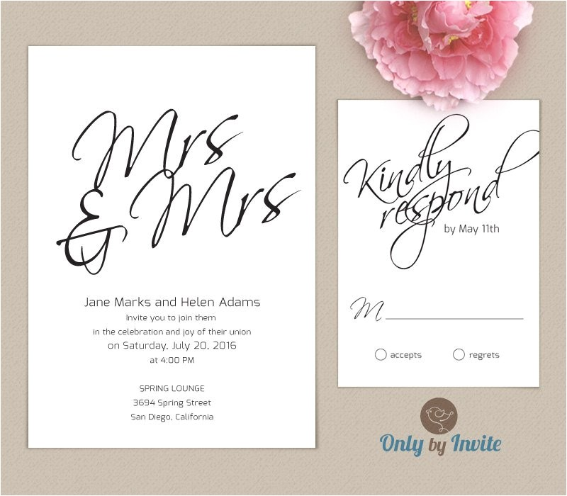 lesbian wedding invitation and rsvp card