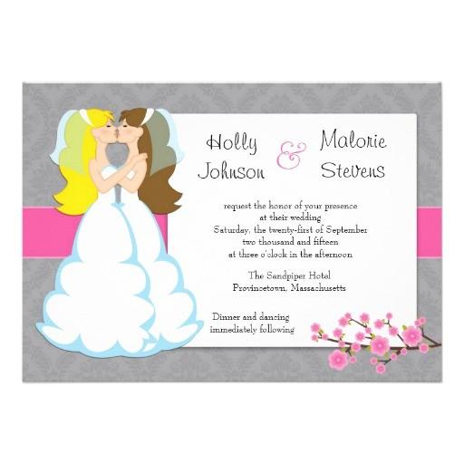cherry blossom lesbian wedding invitation 161019617266607085