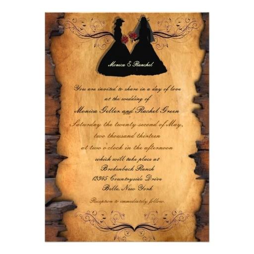 cowgirl brides custom lesbian wedding invitations 161398782780169506