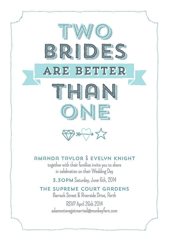 Lesbian Wedding Invitations Wording Two Brides are Better Than One Digital Personalized Print
