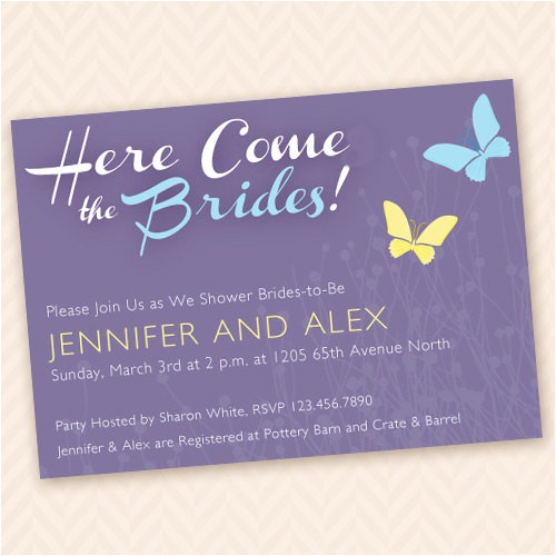 lesbian bridal shower invitation here come the brides