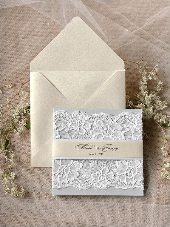 custom listing light grey and ecru wedding invitation la