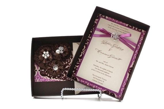 wedding invitations box chocolate and