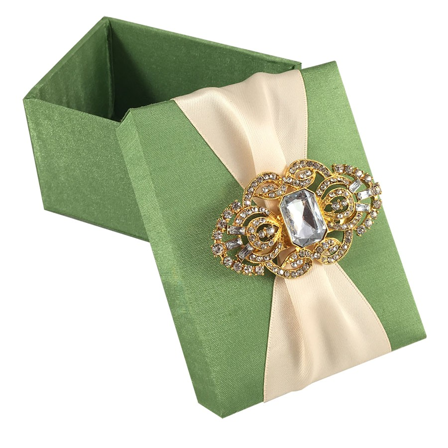 light green wedding favour box with nude ribbon gold br
