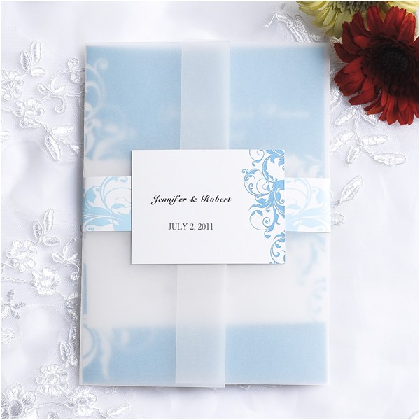 vintage light blue damask pocket wedding invitations ewpi058