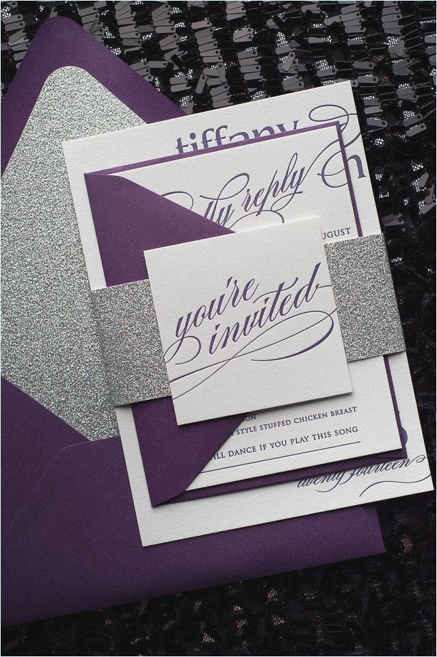 lavender and silver wedding invitations