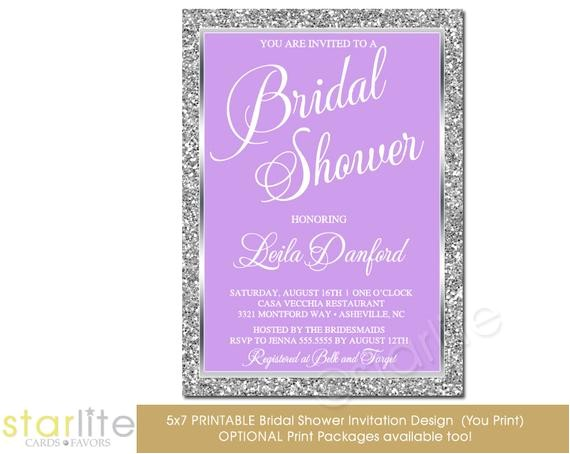 lavender silver bridal shower invitation