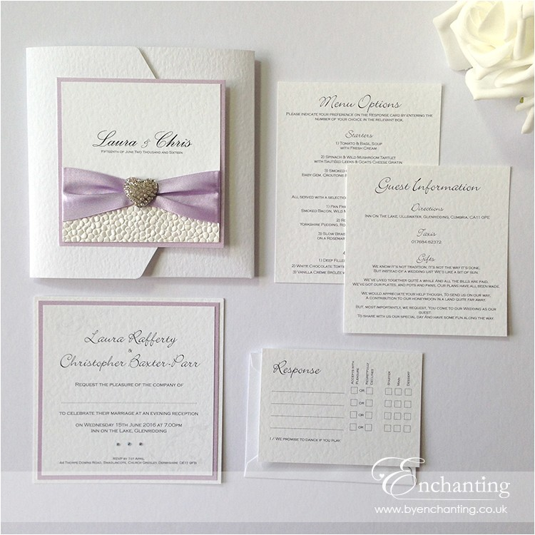 lilac wedding invitations with pebble pap