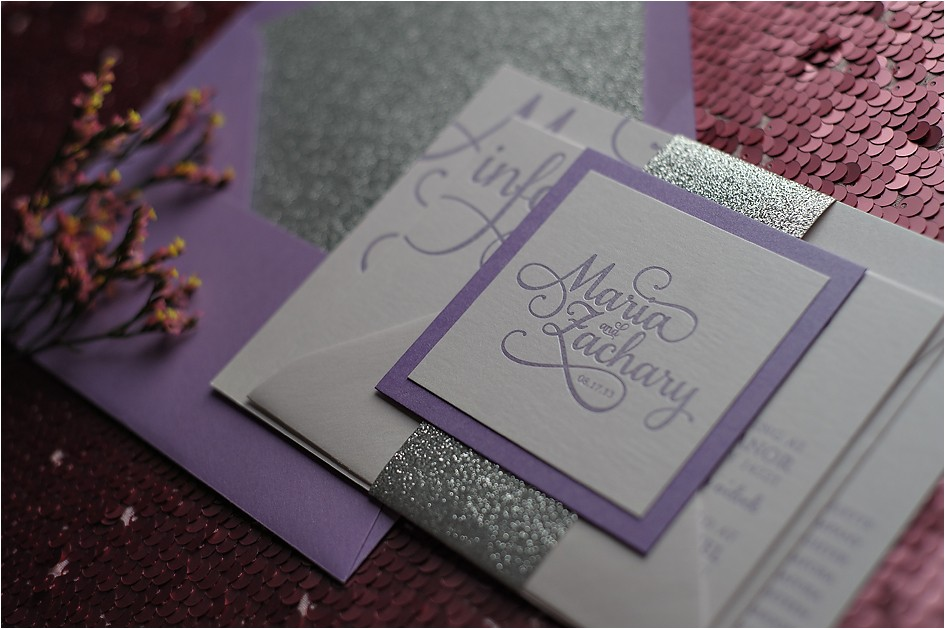 real wedding maria and zachary lavender and silver glitter wedding invitations