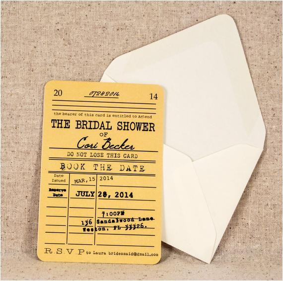 library card bridal shower invitation