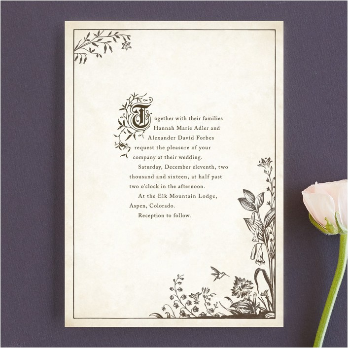 literary wedding invitations