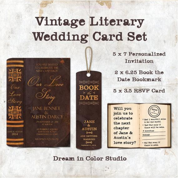 vintage literary wedding card set