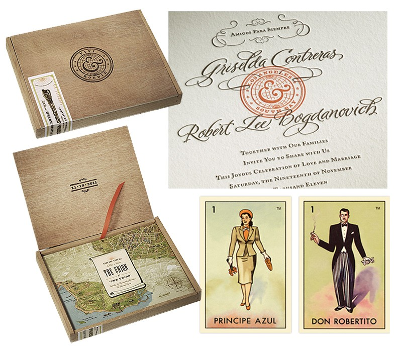 letter pressing and loteria cards in cedar boxes make for stunning wedding invitations by konnect design