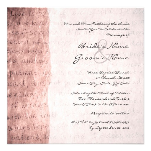 pink love is patient vintage wedding invitation 161734633072582161