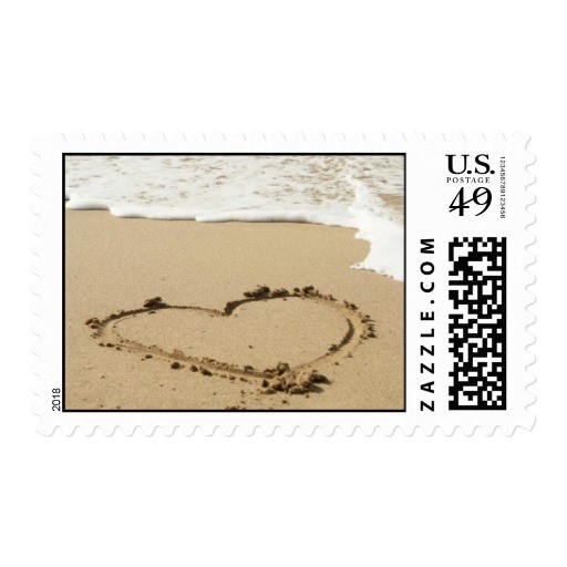 love heart beach wedding invitation stamp 172987283261735392