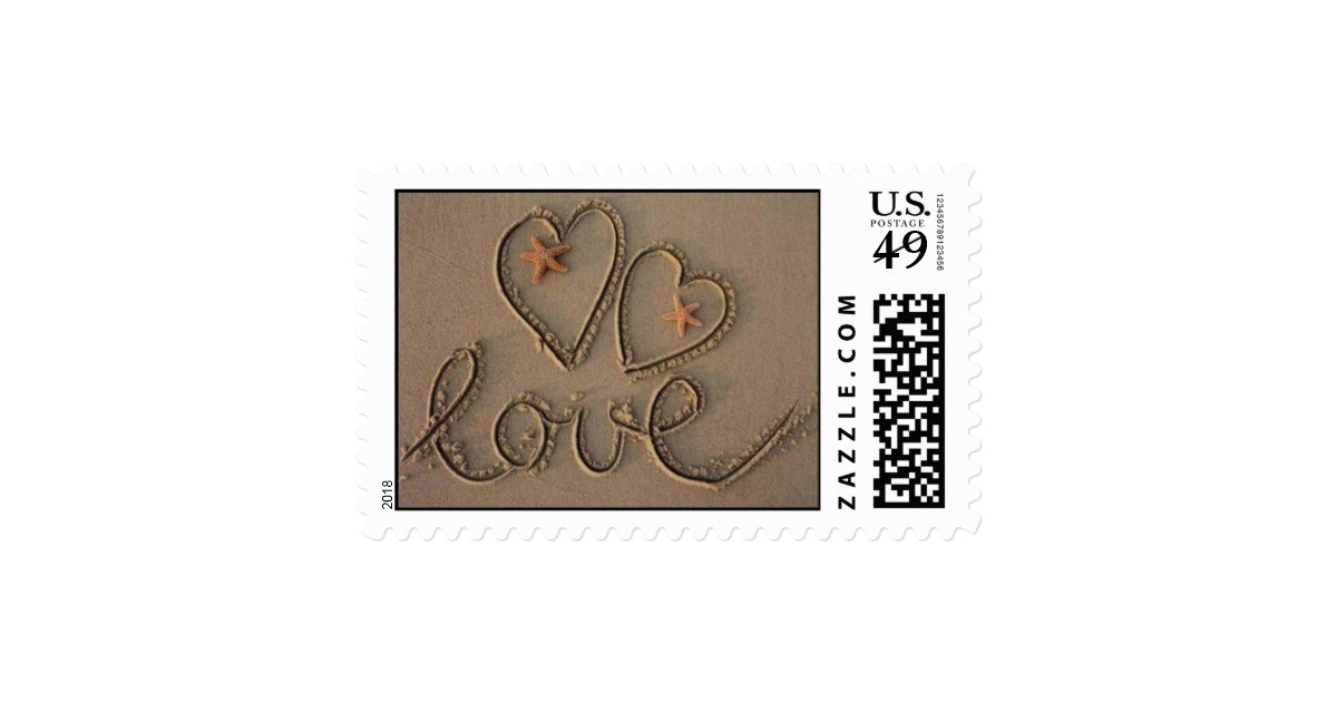 love heart beach wedding invitation stamp 172963261935900581