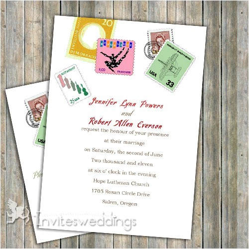 love postage stamps wedding invitation iwi048 p 48