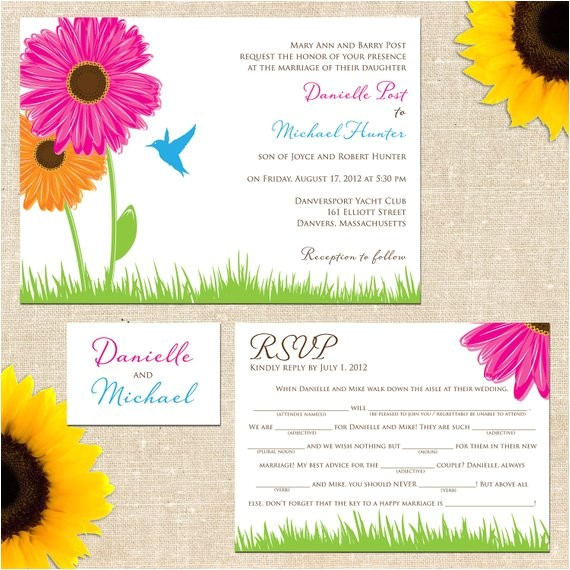 danielle wedding invitation with mad lib