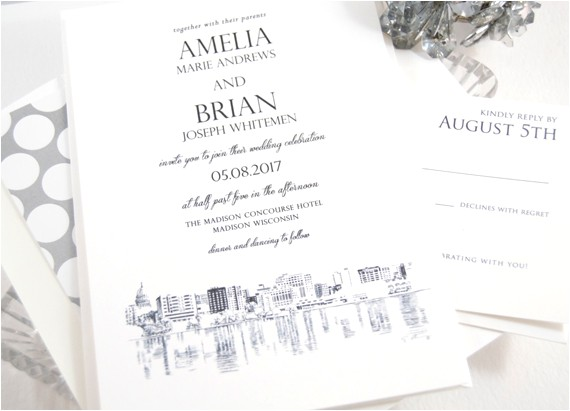 madison wisconsin skyline wedding invitations