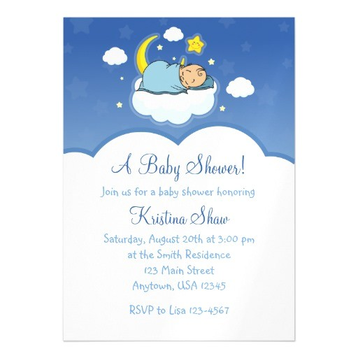 blue cloud boy baby shower magnetic invitations 256762357690725964