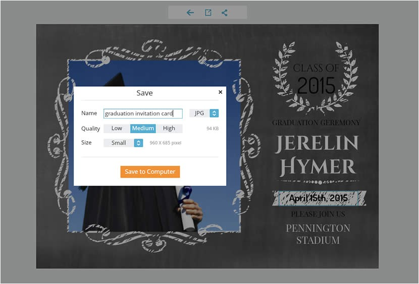 send free graduation invitation cards made online to announce your graduation