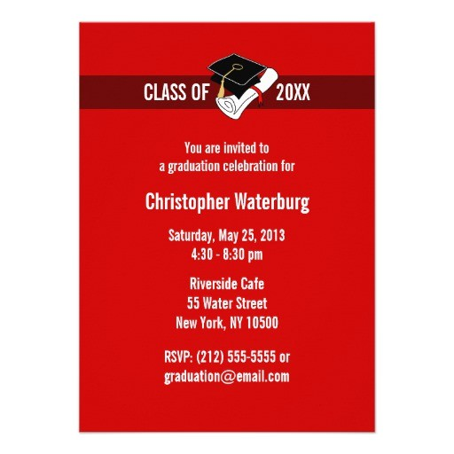 create your own graduation invitation red 10 161958894152460389