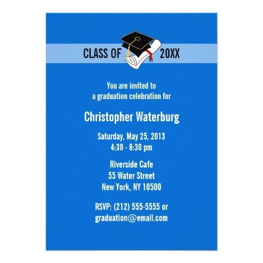 create your own graduation invitation blue 10 161213169447662832