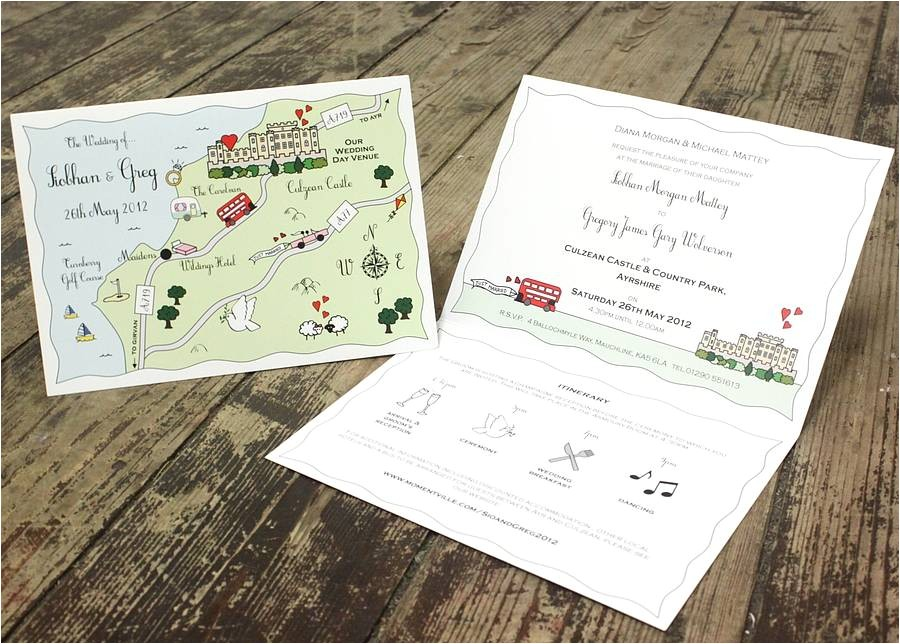 cute maps wedding or party inivtation