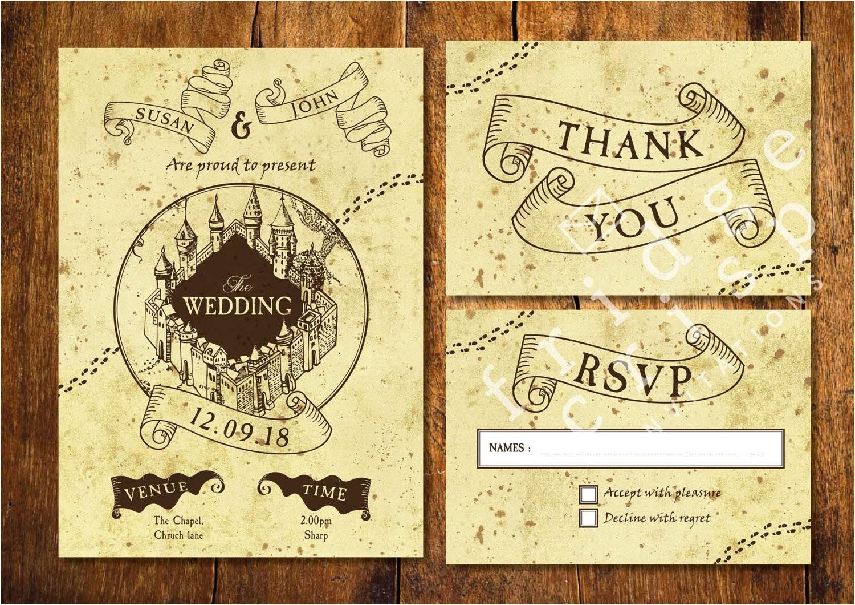marauders map style wedding invitation