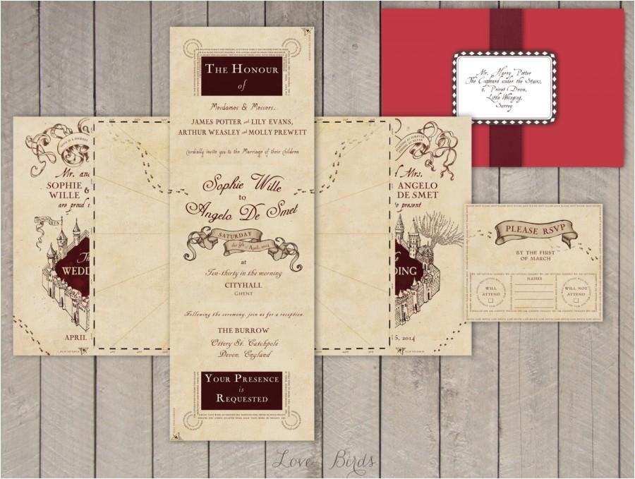 wedding invitation set harry potter marauder39s map invitation and rsvp digital file