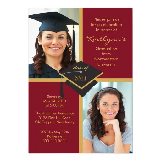 maroon gold photo graduation invitation 161568071057807241