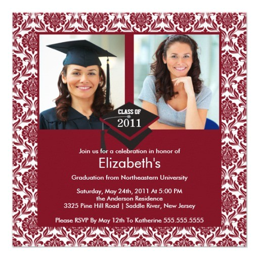 maroon white damask photo graduation invitation 161788870000904513