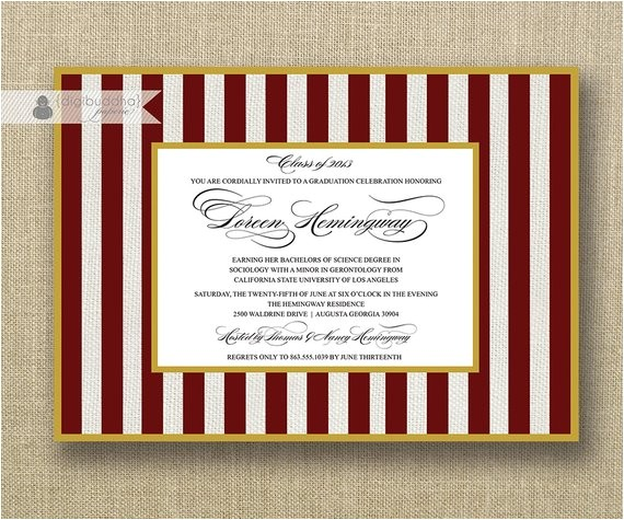 maroon white graduation invitation