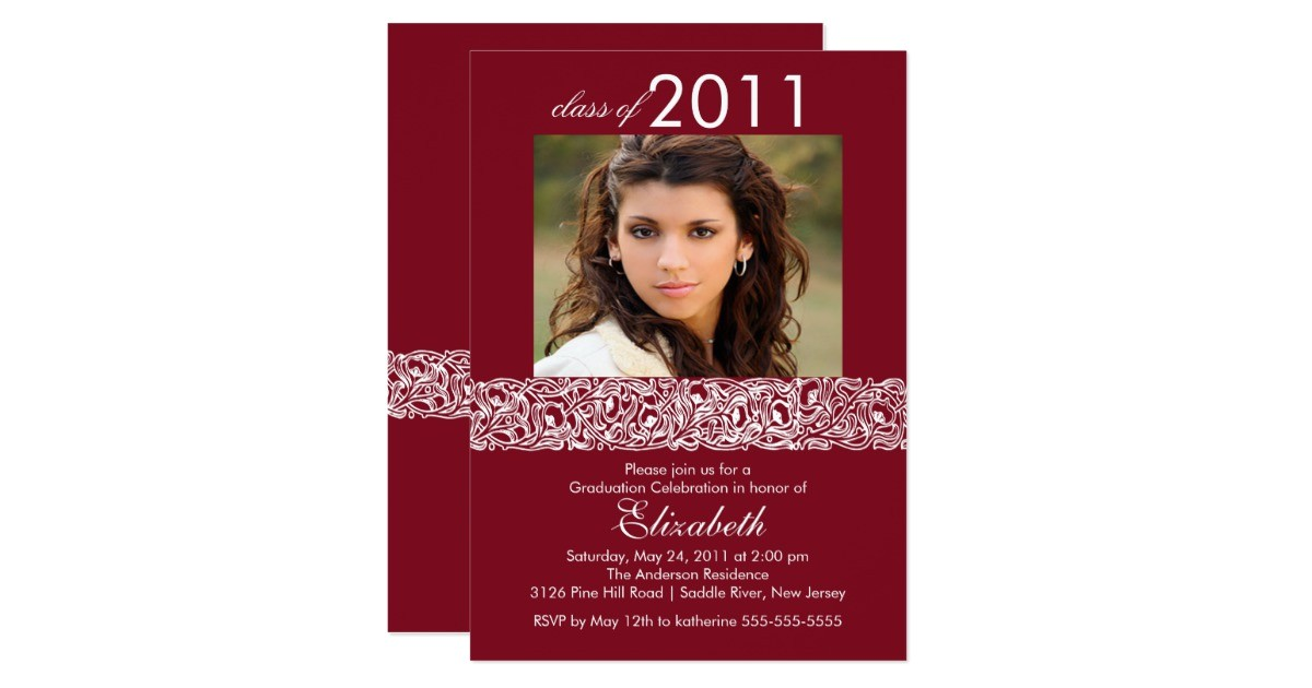 maroon white photo graduation invitation 161599960285737520