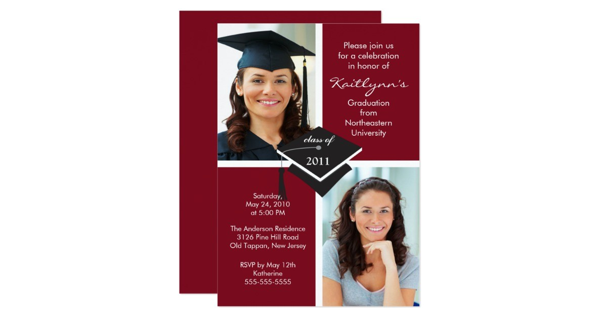maroon white photo graduation invitation 161487729169596490