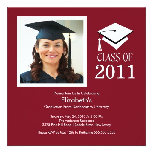 photo graduation invitation classy maroon white 161029571753205057