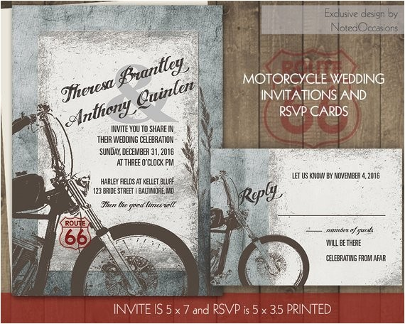 motorcycle wedding invitations biker