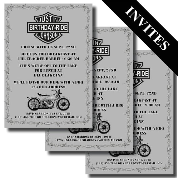 harley davidson wedding invitations