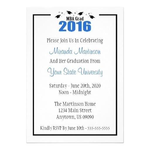 mba grad 2016 graduation invite blue caps 256156389017363358