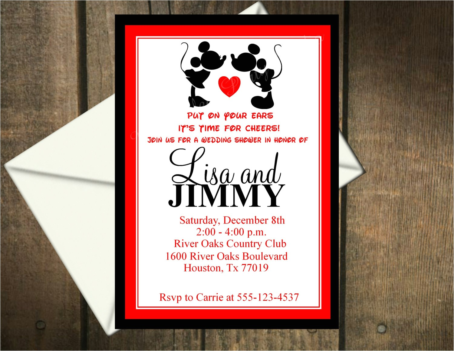 mickey and minnie mouse wedding invitations