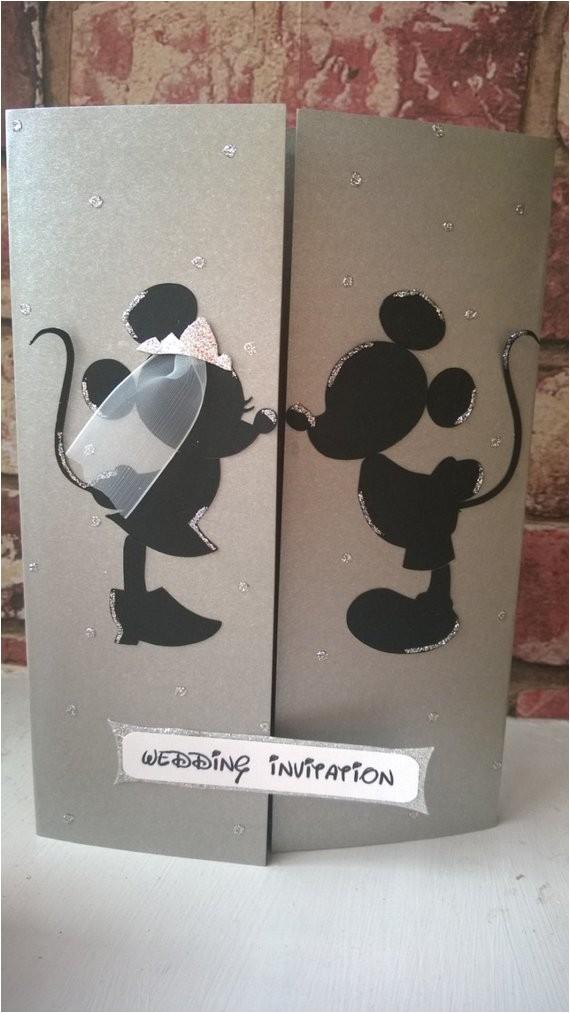 Mickey and Minnie Wedding Invitations Minnie Mickey Mouse Wedding Card Invitation by