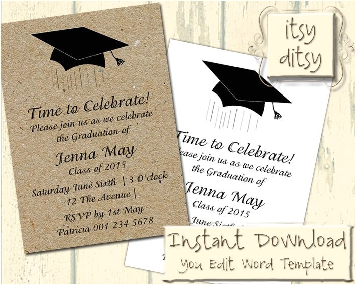 graduation invitation template with a