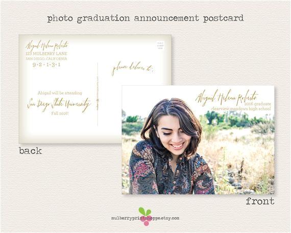 printable photo graduation postcard