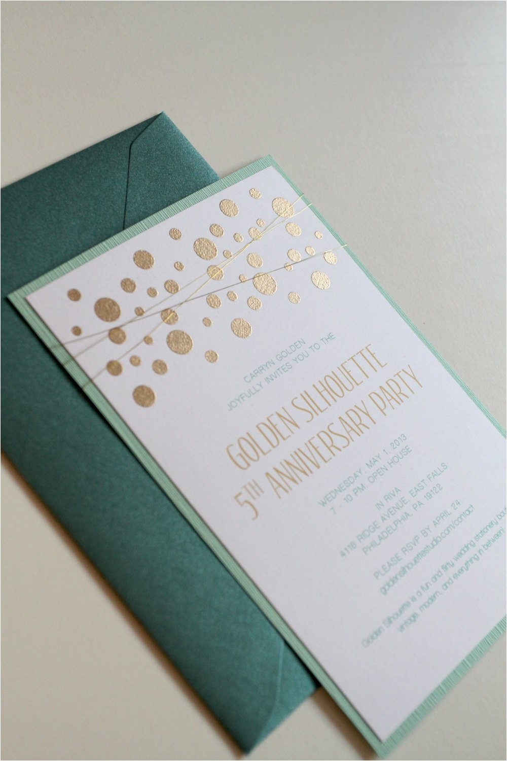 gold and mint wedding invitations