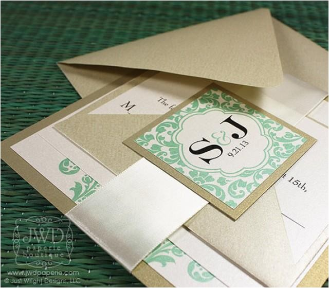 elegant wedding invitation light gold mint green wedding invitation luxury flourish wedding invite with ribbon kirkland sample kit