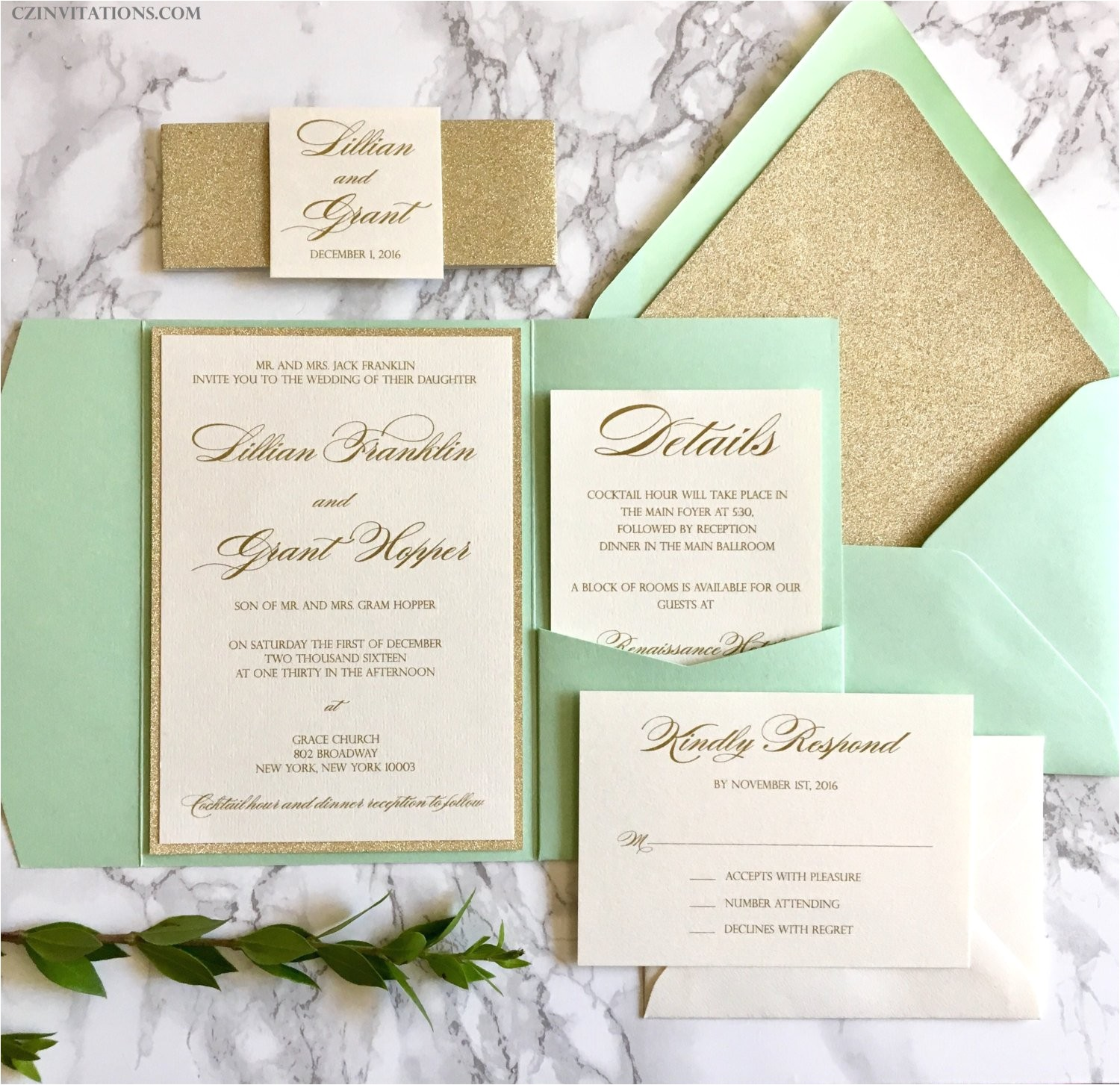 mint and gold glitter pocket wedding