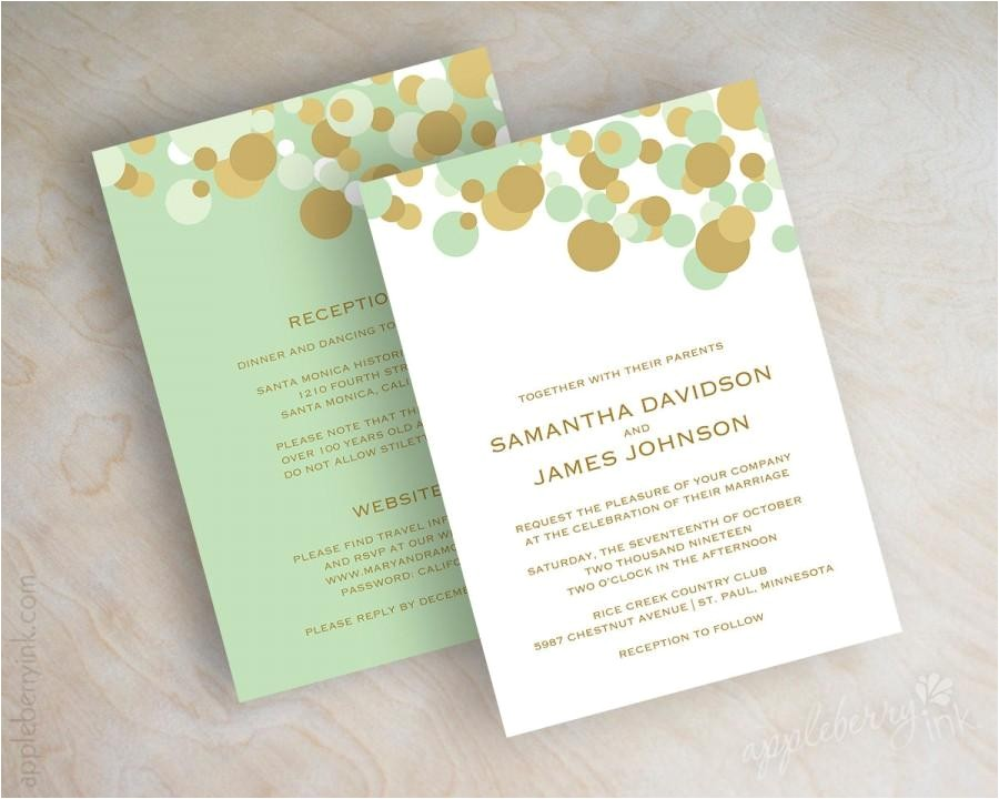 mint green and gold polka dot wedding invitations wedding invitation contemporary modern polka dots mint wedding invites kendall v2