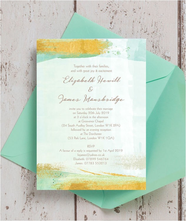 mint green gold brush strokes wedding invitation